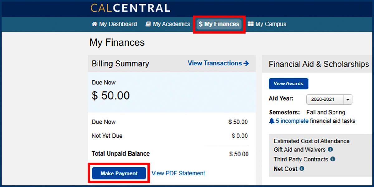 Screenshot of the CalCentral My Finances page with Make Payment button