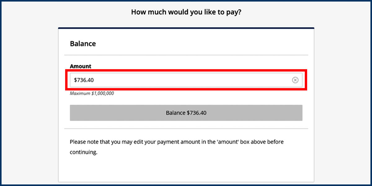 Screenshot of the CashNet Make a Payment page with Pay Amount option