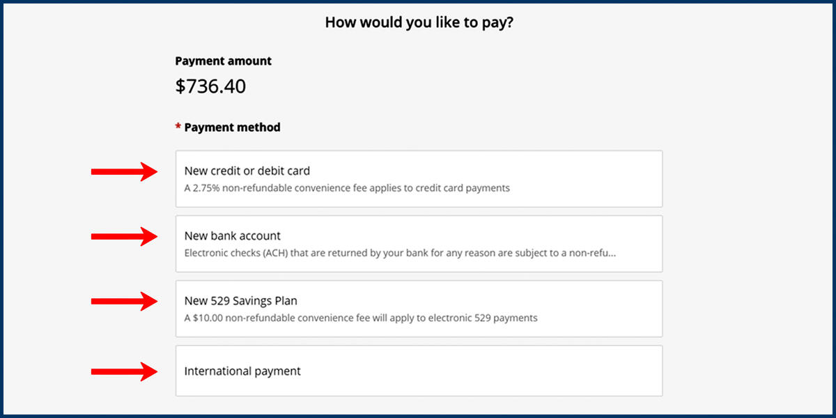 Screenshot of the CashNet Make a Payment page with Payment Method options