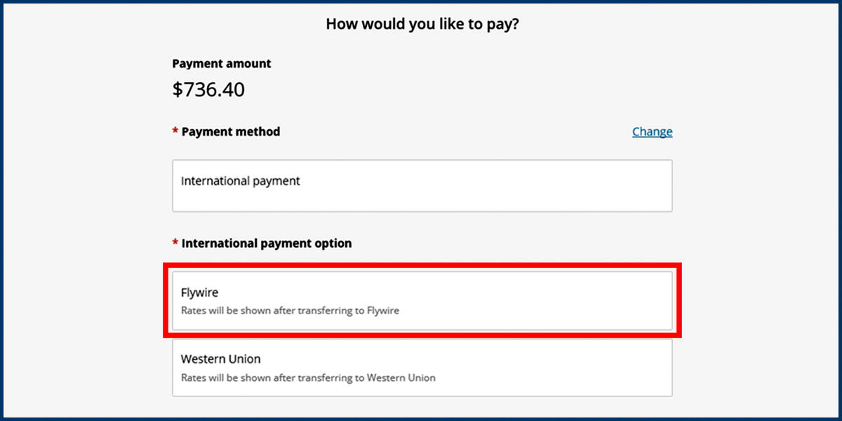Screenshot of the CashNet Make a Payment page showing the Flywire payment option