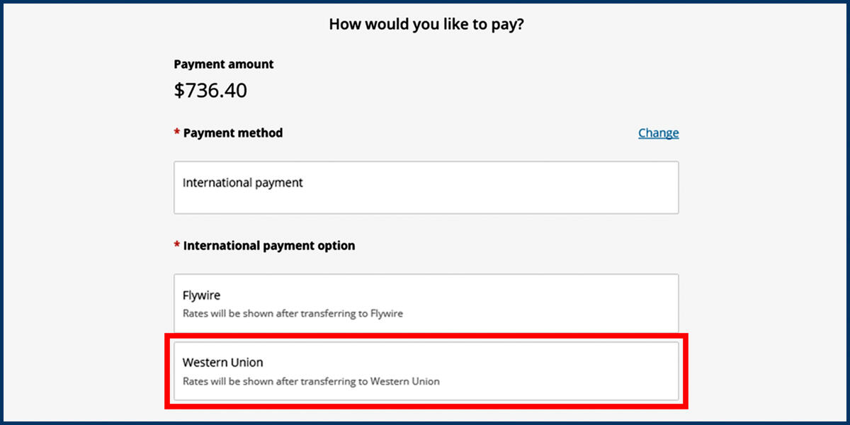 Screenshot of the CashNet Make a Payment page showing the Western Union payment option