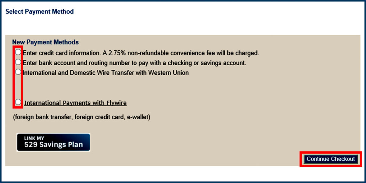 Screenshot of the CashNet Make Payment page with Payment Method options