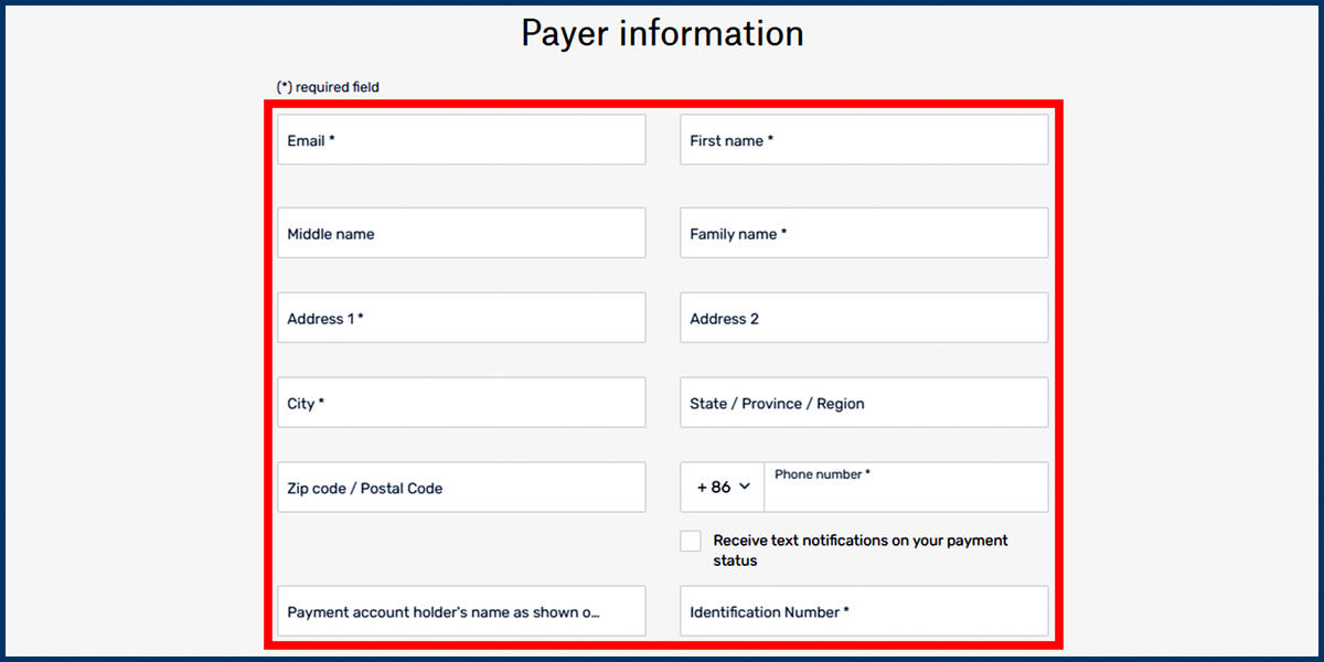 Screenshot of the Flywire Payer Information page