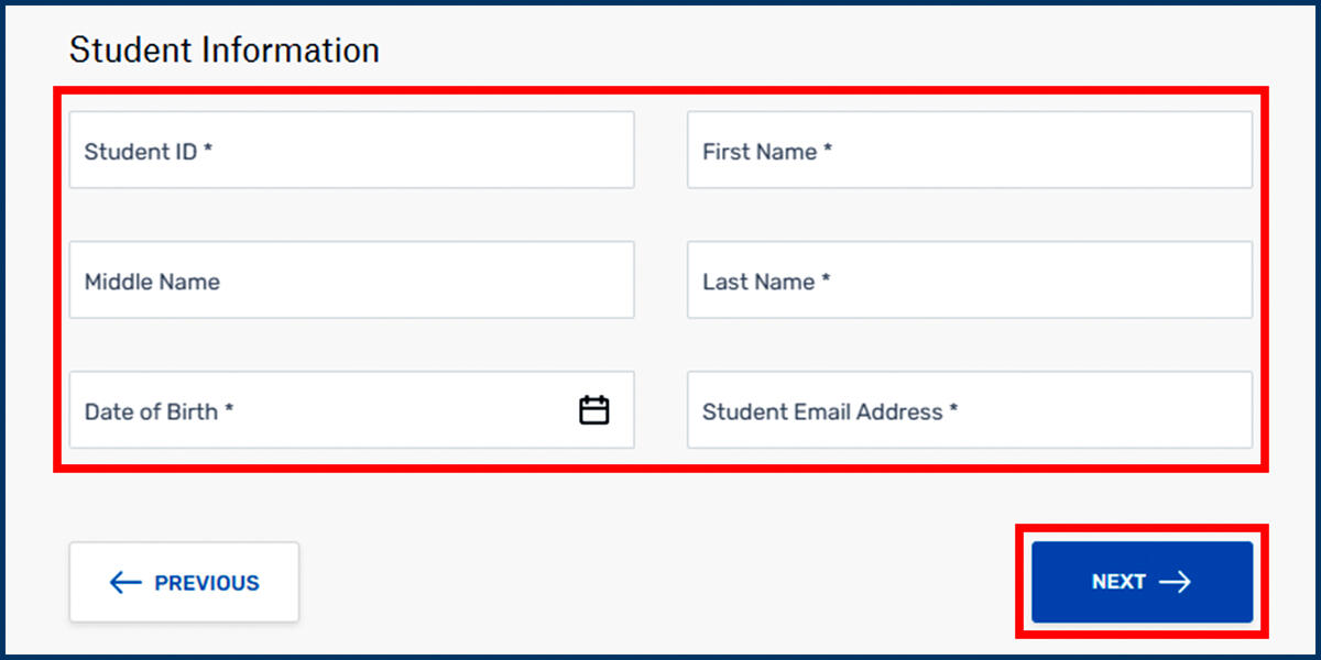 Flywire Student Information page screenshot
