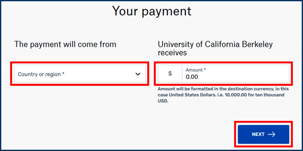 Flywire Your Payment page screenshot