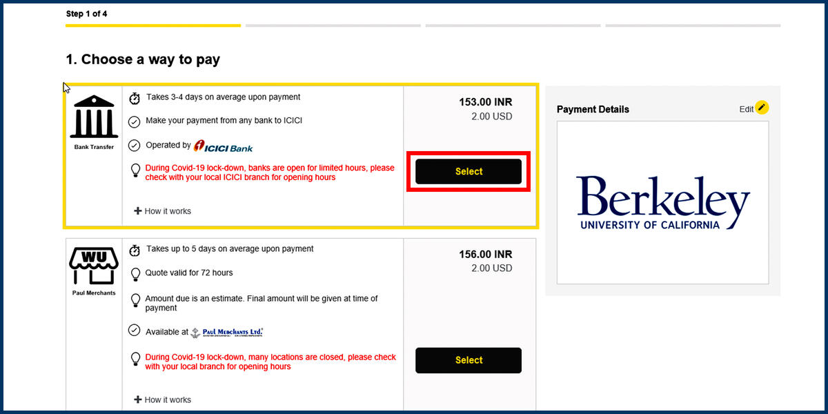 Screenshot of the Western Union Choose a way to pay page